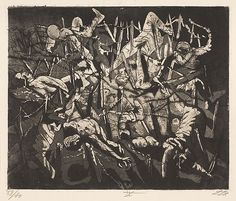 Otto Dix, Totentanz anno 17 (Hohe Toter Mann) [Dance of death 1917 - Dead Man's Hill], plate 19 from Der Krieg (The War). After volunteering in the first World War, Otto Dix documented his firsthand. Art Mort, Mark Riddick, Ww1 Art, Catalog Printing, Dance Of Death, Dance Of The Dead, Death Art, Danse Macabre, Art Graphique