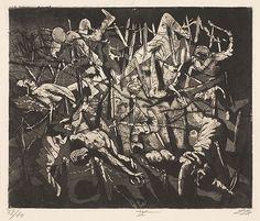 "Otto Dix ""Totentanz anno 17 (Hohe Toter Mann) [Dance of death 1917 - Dead Man's Hill]"", plate 19 from Der Krieg"