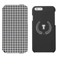 """Chic preppy black white gingham pattern monogram incipio watson™ iPhone 6 wallet case. """"Tint and Beyond"""" #iPhone6cases #monogram #gingham"""