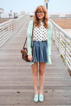 nyc vintage blog, nyc fashion blogger, nyc fashion blog, polka dot button up, long beach new york, long beach boardwalk
