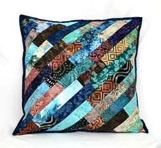 Excited to share the latest addition to my #etsy shop: Navy Blue Pillow, Patchwork Pillow, Throw Pillow Cover, Batik Quilted Pillow, Accent Pillow, 18 x 18 Pillow,