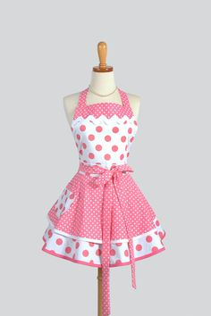 Ruffled Retro Apron - Womens Apron in Bubblegum Pink Polka Dots Handmade Full Kitchen Apron