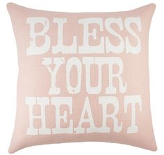 'Bless Your Heart' Burlap Throw Pillow