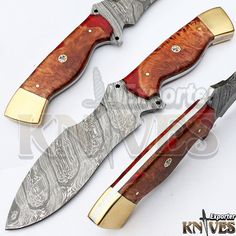 Knives Exporter 1 of Kind Australian Wood Handle Damascus Hunting Knife KE-350 #KnivesExporter