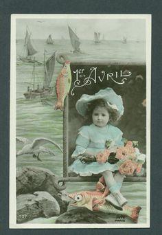 Vintage French postcard celebrating April Fool's Day. #vintage #April_Fools_Day #fish