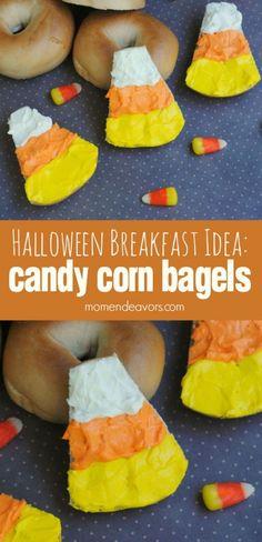 Halloween Breakfast Idea Candy Corn Bagels