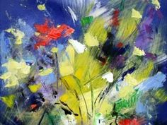 How to paint abstract art flowers using acrylic paint on canvas simple techniques, modern look, tips - YouTube