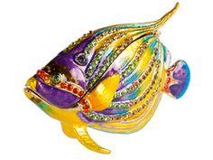 Colorful Fish Shape Bejeweled Pewter Keepsake Box With Swarovski Crystals