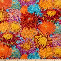 Kaffe Fassett Collective for FreeSpirit Japanese Chrysanthemum Autumn Cool Fabric, Blue Fabric, Orange Bathroom Decor, Japanese Chrysanthemum, Home Decor Fabric, Shades Of Blue, Wall Design, Fabric Weights, Decorative Items