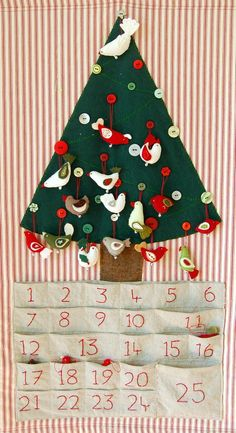 I began this Advent Calendar last Christmas, using a lovely pattern from AK Traditions. I hadn't finished it by the first of December last year, so was trying to make a bird a day to keep ahead. Eventually I ran out of time- I tried to trick the Bug by putting some birds back in the pockets for the last few days, but he was onto me!   We sometimes spend Christmas at my mum's beach shack, so I wanted to make something portable that could come to mean Christmas for the Bug. It doesn't have the…