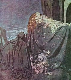 Lenore, oil on canvas by Edmund Dulac for poem by Edgar Allan Poe.