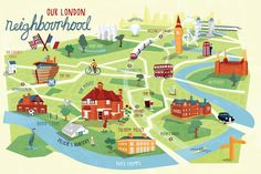 I was recently commissioned to illustrate a personalised map of London. The family asked me to include their home, schools, offices and favourite London landmarks. As well as featuring them though out the map. Village Map, Design Thinking, London Map, London Landmarks, Campus Map, Journey Mapping, Tourist Map, Travel Illustration, Map Design