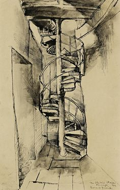 Donald Friend - The Studio Stairs, Firenze, 1949 Australian Painters, Australian Artists, How To Draw Stairs, Henry Thomas, Stair Steps, Modern Artists, Art Market, Figure Drawing, Printmaking