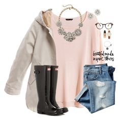 """Loving this weather"" by madison426 ❤ liked on Polyvore featuring H&M, Burberry, J.Crew, Gap, Hunter, Butter London, Alex and Ani, See Concept and Kate Spade"