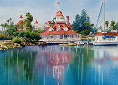 Mary Helmreich WATERCOLOR Coronado Boathouse Reflected Painting