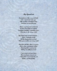 Grandson Poem Love Poem 8 X 10 Print INSTANT by queenofheartgifts, $8.99