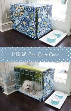 Easy-to-make custom dog crate cover based on this tutorial! Dog Crate Cover, Diy Dog Crate, Dog Kennel Cover, Pet Beds, Dog Bed, Dog Crafts, Animal Projects, Dog Houses, Diy Stuffed Animals