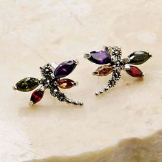 Red Green Purple Peach Cubic Zirconia Marcasite by TheSilverPlaza