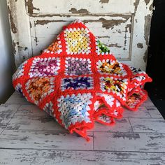 Vintage Granny Square Blanket - Red Multi Color Classic Afghan - Large Square - Twin Size Granny Square Afghan, Vintage Children, Rustic Style, Bright Colors, Crochet, Classic, Red, Etsy, Kids Room