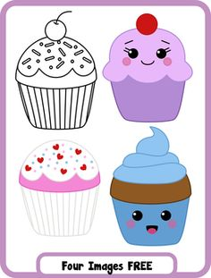 This is a FREE set of 4 cupcake themed images in color and black and white. These were made using my product, Build Your Own Treat- Cupcake clipart. Want to build your own? Check out my cupcake maker