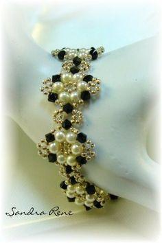 Beadwork Bracelet - Beadwoven Black and White - Beadweaving Jewelry - Beaded