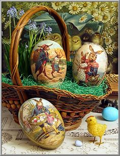 Easter Shop: Country Rabbits Eggs, German Easter Egg Boxes on Blumchen.com