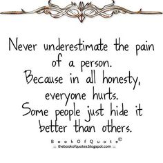 So very true.  The longer you have the pain the better you get at hiding it!