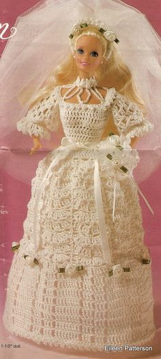 Barbie Crochet Hoop Skirt Pattern | Crochet PDF Pattern Barbie Doll Wedding Gown by GoofingOffSewing