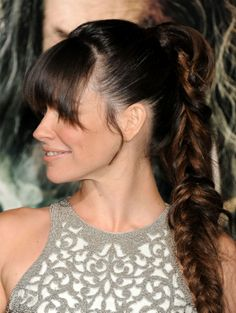 bangs , braid....Evangeline Lilly