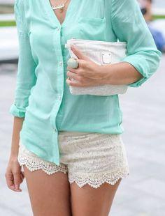 mint top + white lace shorts