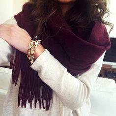 love the burgundy scarf