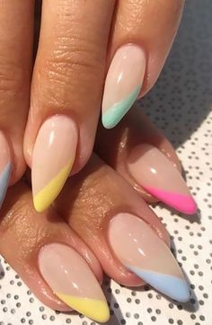 Cute Summer Nail Designs, Nail Tip Designs, Cute Summer Nails, Nails Design, Nail Summer, Summer Nails Almond, Tropical Nail Designs, Acrylic Nail Designs, Summer Acrylic Nails