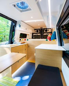 This company makes some of the coolest sprinter van conversions. I want to build a DIY camper and make it look like these! They have a really modern design with an open layout and tons of storage space. I also like how they've tucked away the kitchen and bathroom. It's the perfect adventure travel van! #vanlife