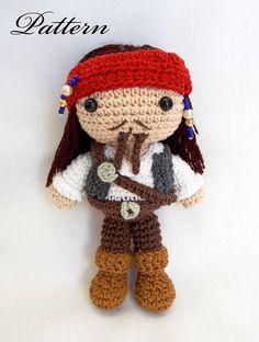 Captain Jack Sparrow Pirates of Carribean amigurumi crochet doll PATTERN