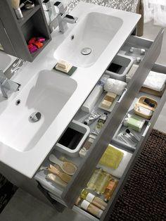 Lots of storage in the floating vanity. Large Bathroom Sink, Bathroom Sink Design, Bathroom Basin, Bathroom Renos, Bathroom Interior Design, Modern Bathroom, Master Bathroom, Bathroom Organisation, Bathroom Storage