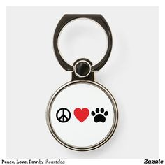 Peace, Love, Paw Phone Ring Stand #phoneringstand #peace #love #paw #symbols #zazzle #afflink Ring Holders, Ring Stand, Symbols, Peace, Personalized Items, Icons, Sobriety, World