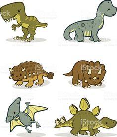Linda de bebês dinossauros vetor e ilustração royalty-free royalty-free