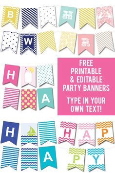 Lots of FREE printable party banners - you can make any banner you'd like by typing in your own text! #freeprintable