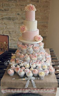 Pink Roses Wedding Cake and cupcakes #roseweddingcake #rosecupcakes