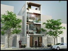 Mẫu thiết kế nhà phố kinh doanh đẹp ở Ninh Thuận mặt tiền 5m với 4 tầng sang trọng