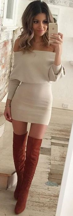 #fall #trending #outfits | beige Bardot Dress + Camel Overknees