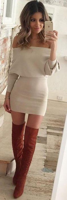 #fall #trending #outfits   beige Bardot Dress + Camel Overknees