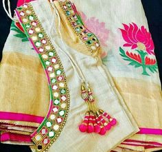 Elegant Designer Fancy Sari Blouse Designs - The Handmade Crafts Simple Blouse Designs, Saree Blouse Neck Designs, Stylish Blouse Design, Bridal Blouse Designs, Sari Blouse, Mirror Work Saree Blouse, Mirror Work Blouse Design, Mirror Saree, Aari Work Blouse