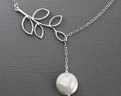 15% Weekend Sale Flower and Pearl Lariat. Silver by MenuetDesigns