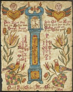 A Pennsylvania German painted Fraktur -  Watercolor on paper, inscribed with a poem and: Diese Bild Gehert Maria Schäffer 1816. 10 3/4 x 8 3/4in (27.5 x 22.5cm)