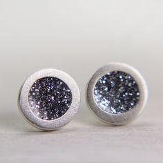 fine silver post earrings with silver sparkles - sterling silver stud earrings - glitter jewelry