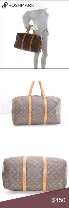 """Authentic Louis Vuitton Sac Souple Travel This stylish duffel is crafted of Louis Vuitton monogram on toile canvas. The bag features vachetta cowhide leather strap top handles that forms trim down either side of the bag and across the top and brass hardware. The top zippers open to a fabric interior. This is a marvelous duffel, ideal for everyday practical use, from Louis Vuitton! 18 by 10"""". Hardware tarnished, leather aging, cracks on leather. Both zipper smooth. Louis Vuitton Bags Luggage…"""