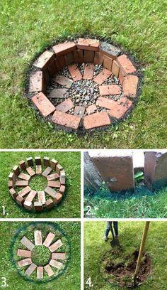 Garten 30 amazing DIY backyard fire pits design ideas # design ideas Outdoor Living All Ye Diy Fire Pit, Fire Pit Backyard, Backyard Patio, Backyard Landscaping, Patio Stone, Flagstone Patio, Concrete Patio, Patio Table, Backyard Seating