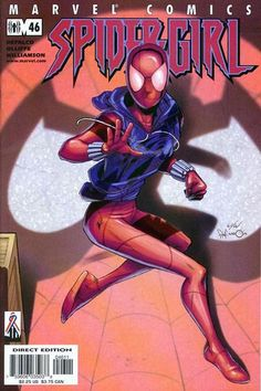 """The daughter of Felicia Hardy (Black Cat) and Flash Thompson in the Universe. She assumed the identity of the Scarlet Spider to fight along side May """"Mayday"""" Parker, Spider-Girl. Dc Comics Women, Marvel Dc Comics, Scarlet Spider Costume, Spider Girl, Spider Women, May Parker, Steve Ditko, Spiderman Art, Spider Verse"""