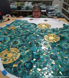 Trusty Assistant Leigh Davis with the craters mosaic element in the Sonia King Mosaic Artist studio Mosaic Artwork, Mosaic Wall Art, Mosaic Diy, Mosaic Garden, Mosaic Crafts, Mosaic Glass, Mosaic Tiles, Glass Art, Mosaic Mirrors